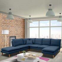 Canapé d'angle modulable 6 personnes en tissu bleu - HOMY
