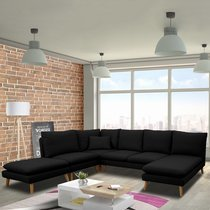 Canapé d'angle modulable 6 personnes en tissu noir - HOMY
