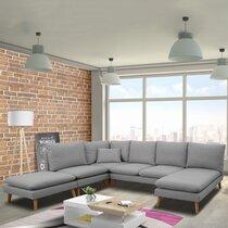 Canapé d'angle modulable 6 personnes en tissu gris - HOMY