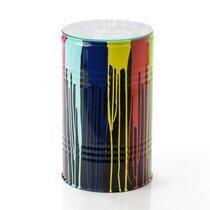 Table d'appoint tonneau 30x50 cm en métal gris et multicolore