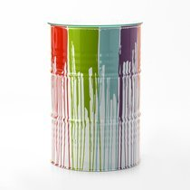 Mange-debout tonneau 60x90 cm en métal blanc et multicolore