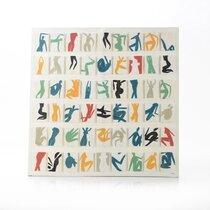 Toile silouhettes multicolores 120x120 cm en coton