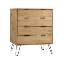 Commode 4 tiroirs 39,5x76,5x90,3 cm en bois naturel - DELFI