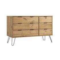 Commode 6 tiroirs 119,3x39,5x73,6 cm en bois naturel - DELFI