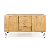 Buffet 3 portes et 3 tiroirs 130,6x43x73,6 cm en bois naturel - DELFI