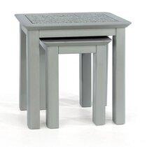 Lot de 2 tables grises avec plateau en pierre - LUENA