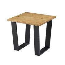 Table d'appoint 54x47,5 cm en bois massif et métal noir - HOLLY