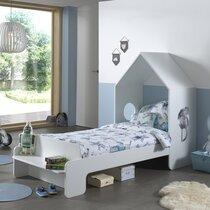 Lit cabane 90x200 cm en pin blanc - CASMY