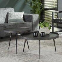 Lot de 2 tables basses rondes 76 et 58 cm en acier gris foncé