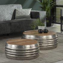 Lot de 2 tables basses rondes 76 et 60 cm en bois et acier gris