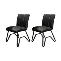 Lot de 2 chaises 46x61x87 cm en PU anthracite - YOMMY