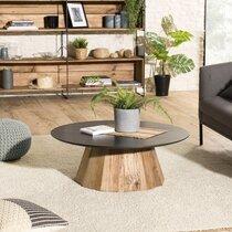 Table basse ronde 90x32 cm en pin recyclé - DANOS