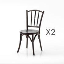 Lot de 2 chaises industrielles 40x40x88 cm en bois d'orme
