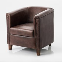 Fauteuil cabriolet 77x82x77 cm en cuir de buffle marron
