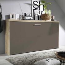 Lit escamotable 90x200 cm décor chêne et façade chocolat