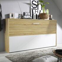 Lit escamotable 90x200 cm décor chêne sonoma et demie façade blanche