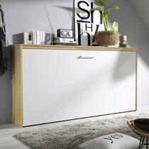 Lit escamotable 90x200 cm décor chêne sonoma et façade blanche