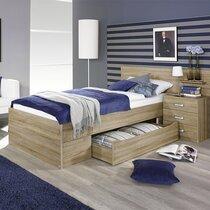 Lit 90x200 cm avec chevet 3 tiroirs et tiroir décor chêne