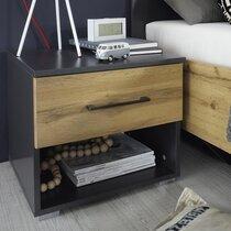 Chevet 1 tiroir décor chêne et gris - AUSTIN