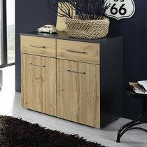 Commode 2 portes et 2 tiroirs décor chêne et gris - AUSTIN