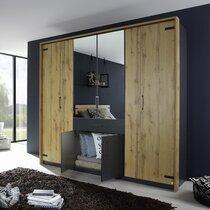 Armoire 8 portes et 1 tiroir 226 cm décor chêne et gris - AUSTIN
