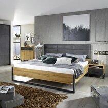 Lit 140x190 cm avec chevet décor chêne et anthracite - DETROIT