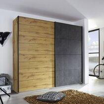 Armoire 2 portes coulissantes 271 cm décor chêne et anthracite - DETROIT