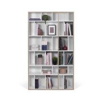 Bibliothèque 108x32x188 cm blanc mat et bords naturels