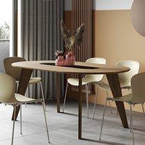Table à manger ovale 180 cm décor noyer et marbre noir