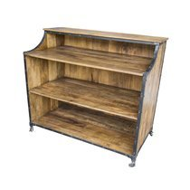 Bar industriel sur roulettes 122x65x110 cm en bois et métal