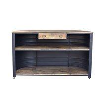 Bar industriel forme bidon 180x60x110 cm en métal et bois