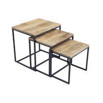 Lot de 3 tables gigognes industrielles en bois et métal