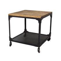 Table basse carrée 50x50 cm en manguier brut et métal