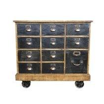 Buffet mercerie 11 tiroirs 100x50x92 cm en bois et métal