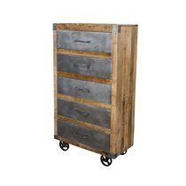 Chiffonnier 5 tiroirs sur roulettes 78x40x140 cm en manguier et métal