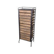Chiffonnier industriel 12 tiroirs 48x30x129 cm en bois et métal