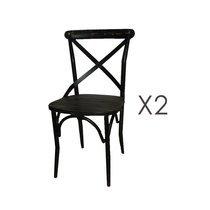 Lot de 2 chaises bistrot en métal et pin noir - BASTY