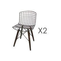 Lot de 2 chaises industrielles en métal et pieds en pin
