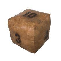 Pouf 49 cm en cuir avec numéros