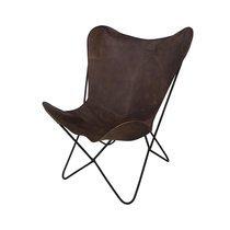 Chaise papillon 76x43x92 cm en cuir et métal