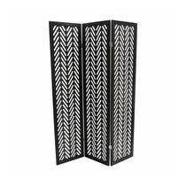 Paravent 3 volets 150x170 cm en pin noir