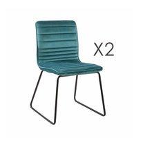 Lot de 2 chaises 63x60x80 cm en velours bleu - MANNY