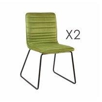 Lot de 2 chaises 63x60x80 cm en velours vert clair - MANNY