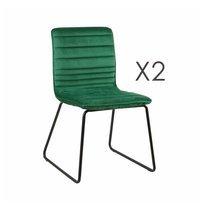 Lot de 2 chaises 63x60x80 cm en velours vert foncé - MANNY