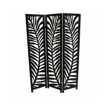 Paravent 3 volets décor feuilles 150x170 cm en pin noir
