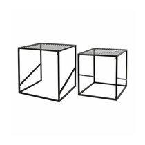 Lot de 2 tables basses carrées 38 et 34 cm en métal noir