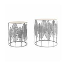 Lot de 2 tables d'appoint rondes 40 et 33 cm en bois et métal gris