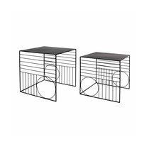 Lot de 2 tables d'appoint carrées 38 et 34 cm en métal noir
