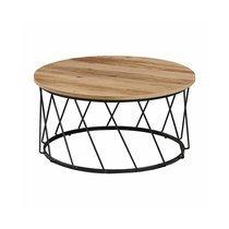 Table basse ronde 80x40 cm en bois et pieds métal