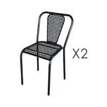 Lot de 2 chaises 41,5x47x77 cm en métal noir